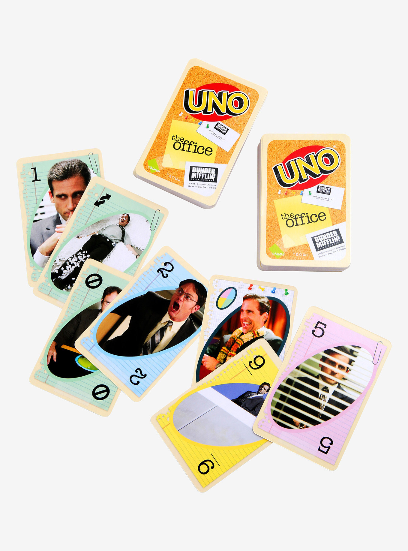 the uno cards with different characters of the office on them
