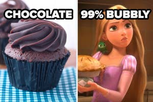 chocolate cupcake and rapunzel with a label 99% bubbly