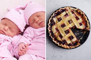 On the left, two twin babies sleeping and holding hands, and on the right, a blueberry pie with a slice taken out of it