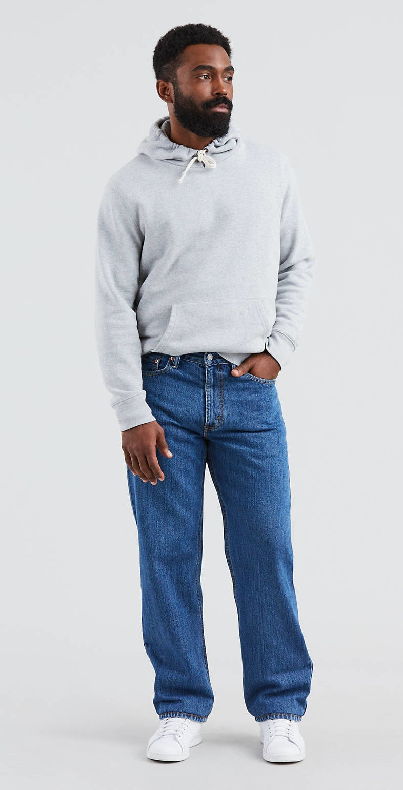 a model wearing the pants in stonewash