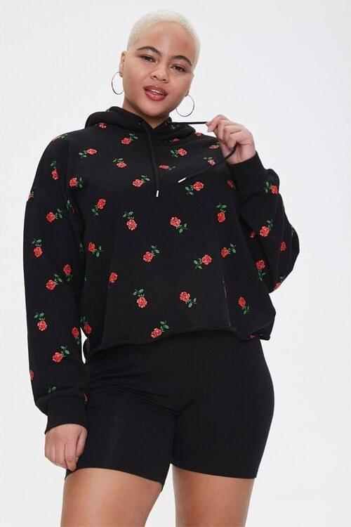The red rose printed hoodie