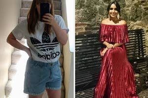 On the left, a reviewer in denim shorts. On the right, a reviewer in a red maxi dress