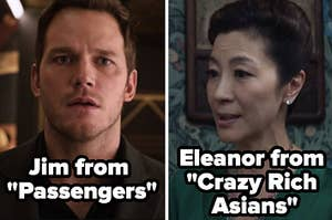 Jim from Passengers and Eleanor from Crazy Rich Asians