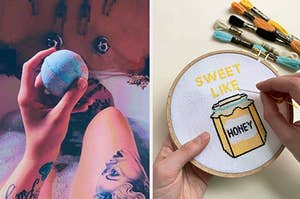 "On the left, reviewer holds blue and pink aromatherapy bath bomb in tub. On right, hands embroider cross-stitch art that says ""Sweet Like Honey"""