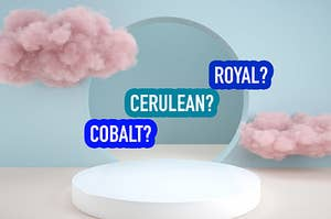 An aesthetic stage with the colors of cobalt, cerulean, and royal blue floating next to clouds