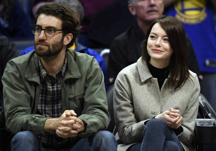 Emma Stone and Dave McCary attend the Golden State Warriors and Los Angeles Clippers basketball