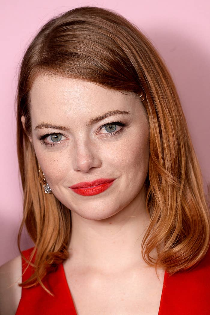 Emma Stone poses in the winners room at the 21st British Independent Film Awards