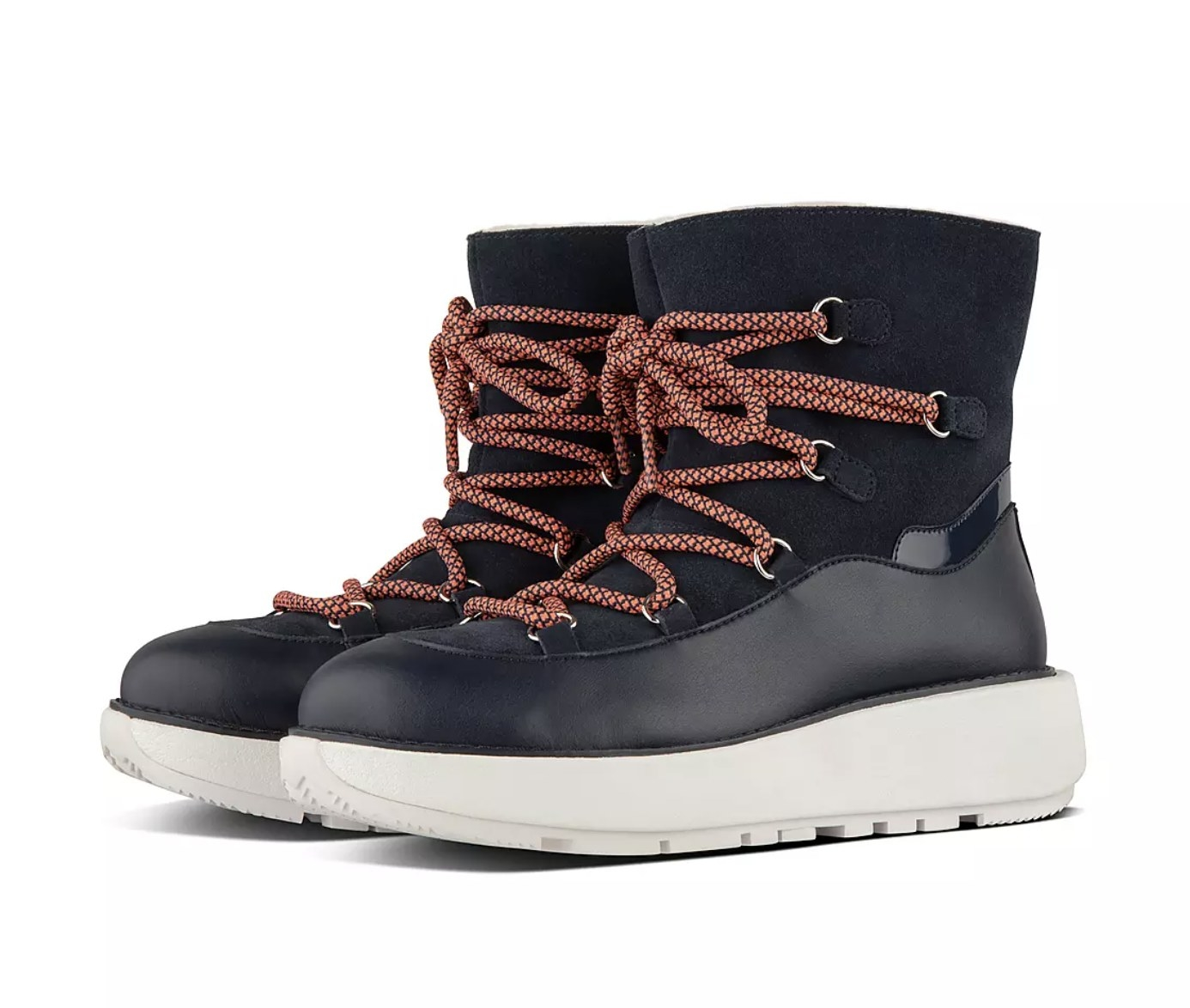 the boots in navy with orange laces