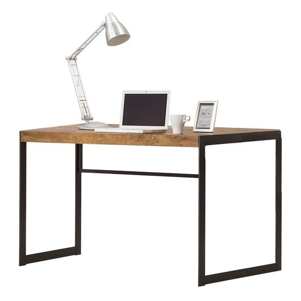 The desk, which has a simple metal frame and a wood-finish top