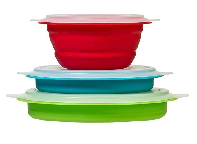 Red, blue and green collapsible containers