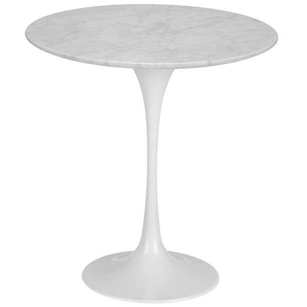 The pedestal table, which is white with a marble top, a slim column, and a flared bottom