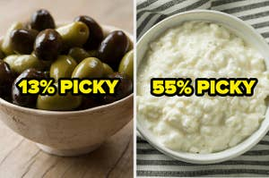 """Olives labeled """"13 percent picky"""" and cottage cheese labeled """"55 percent picky"""""""