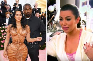Kim and Kanye at the Met Gala; Kim crying in her dressing room