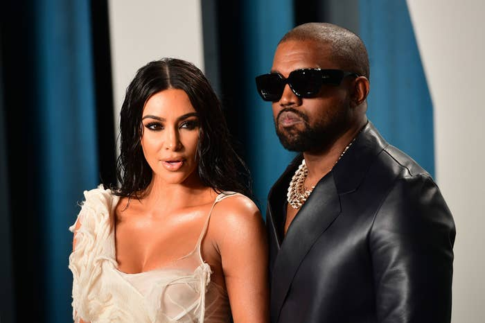 Kim Kardashian and Kanye West attending the Vanity Fair Oscar Party held at the Wallis Annenberg Center for the Performing Arts in Beverly Hills, Los Angeles, California, USA