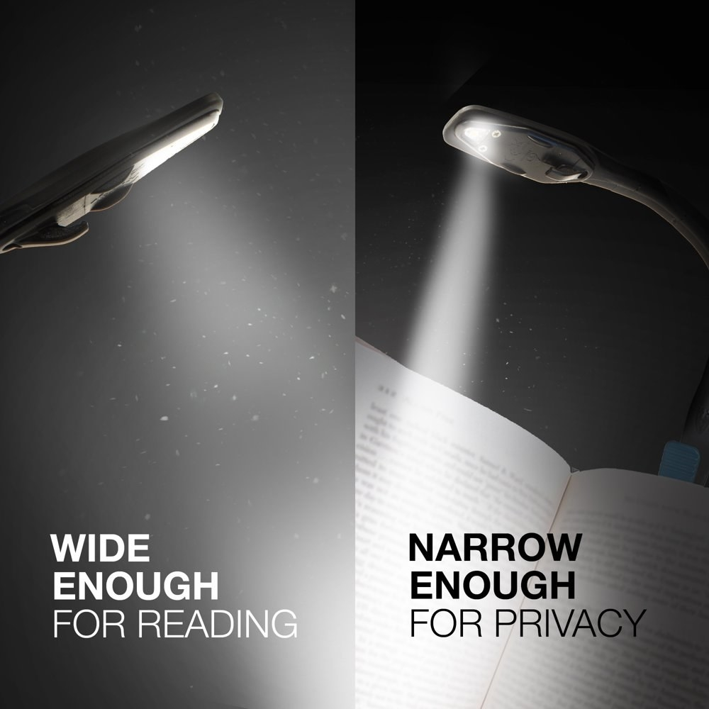 """a clip on book light illuminating a page in the dark. text on the image reads """"wide emough for reading, narrow enough for privacy"""""""