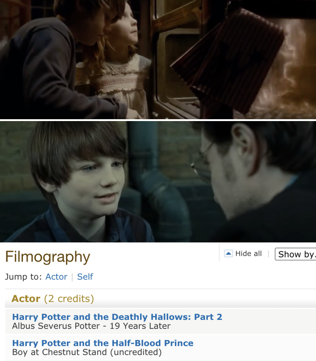 "Arthur Bowen eating chestnuts in ""Half-Blood Prince"" and Bowen playing Daniel Radcliffe's son in ""Deathly Hallows Part 2"""