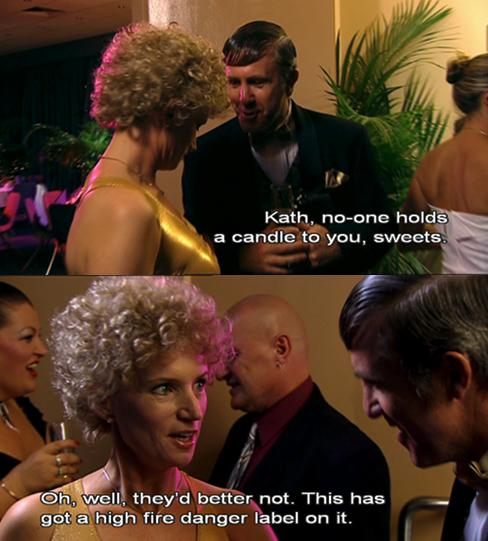 Kath talking to Kel at a party