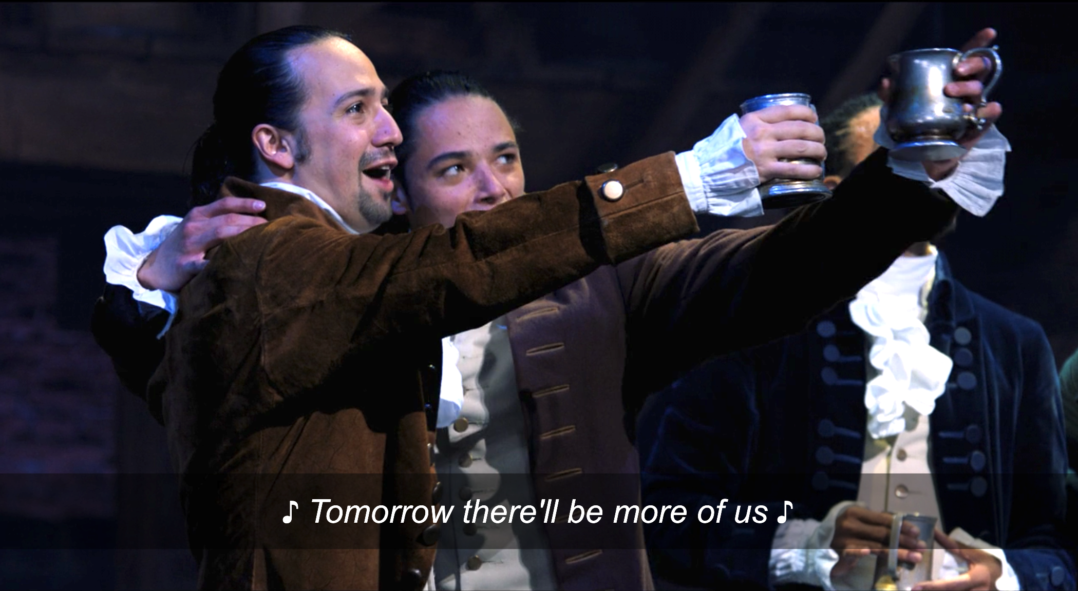 """Hamilton, John Laurens, Lafayette, and Hercules Mulligan singing """"Tomorrow there'll be more of us"""" while drinking in the pub during """"The Story of Tonight"""""""