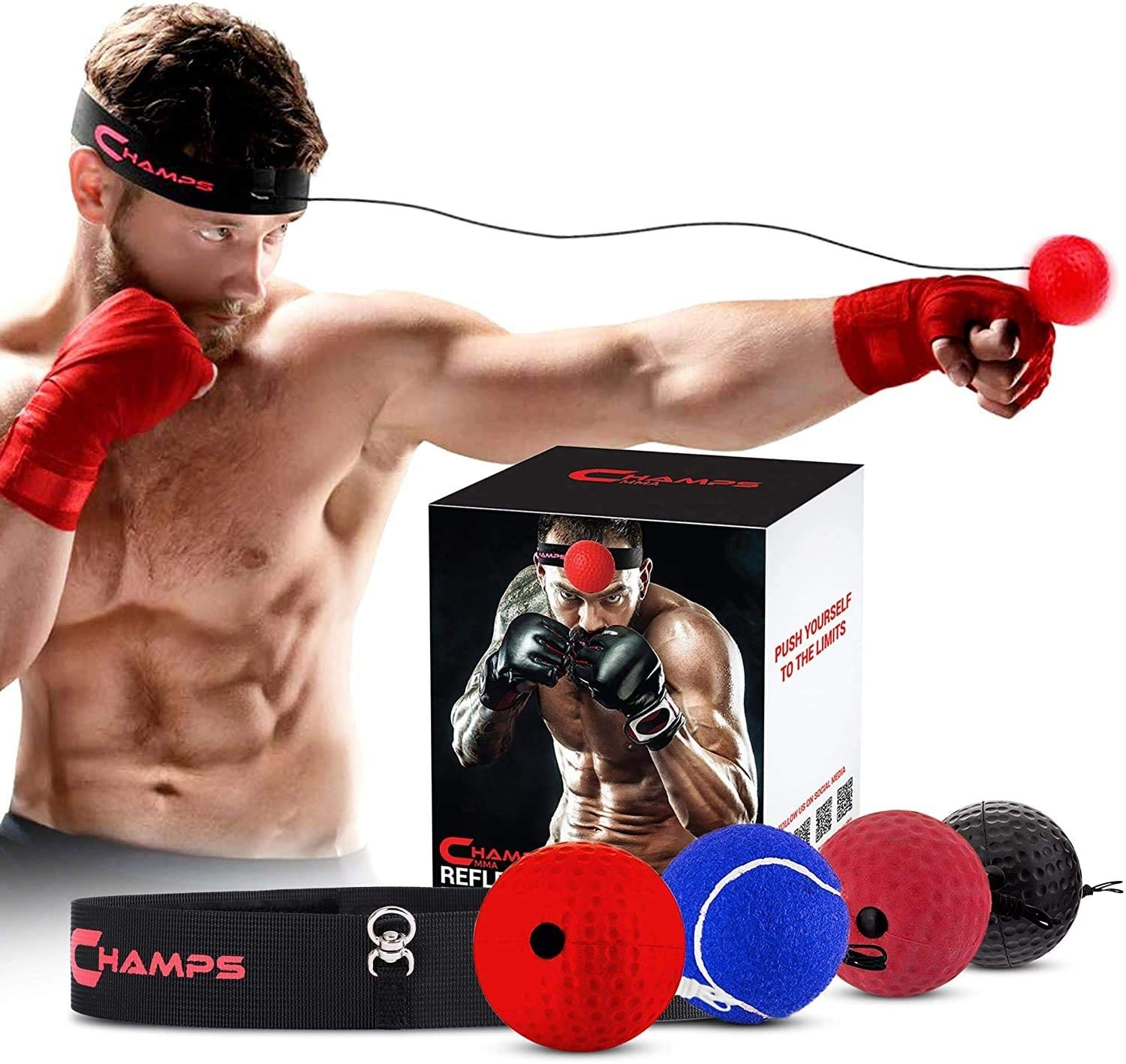 Person wearing headband with reflex ball attached, hitting it with boxing braces on. Four different ball options are shown in the front of the image.