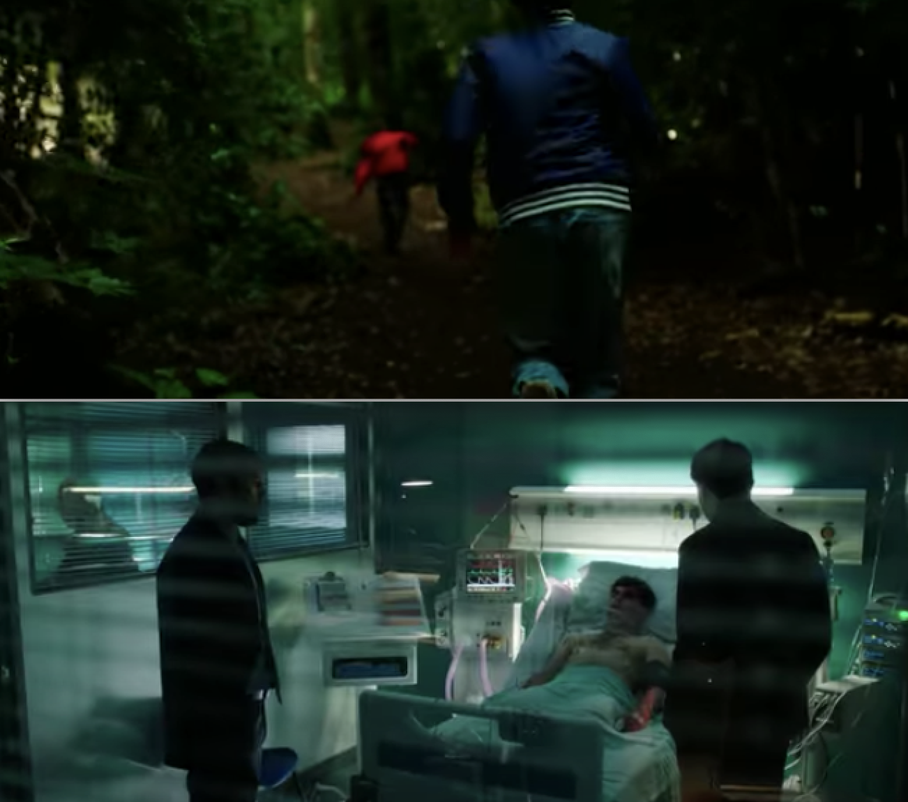 A side-by-side of kids running in the woods and someone lying in a hospital bed