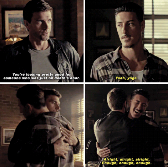 "Nathan and Duke hugging in ""Haven"""