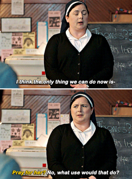 "Sister Michael talking to the students in ""Derry Girls"""