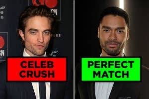 """Robert Pattinson labeled """"CELEB CRUSH"""", and Regé-Jean Page labeled """"PERFECT MATCH"""""""
