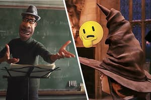 An animated teacher is conducting a music class on the left with Harry Potter in a sorting hat on the right next to a think face emoji