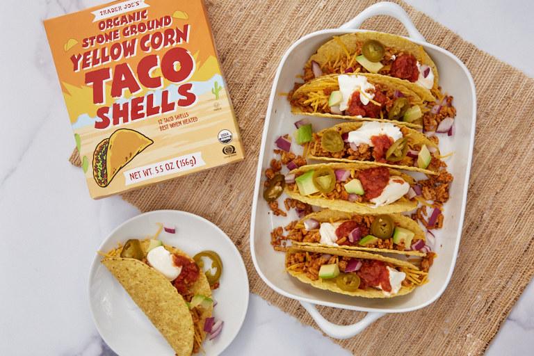 Tacos in Trader Joe's yellow corn shells.