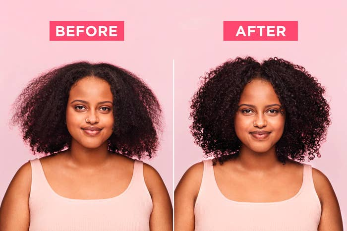 a before and after of a model showing their hair frizzy and then showing their hair curled to perfection after using the product