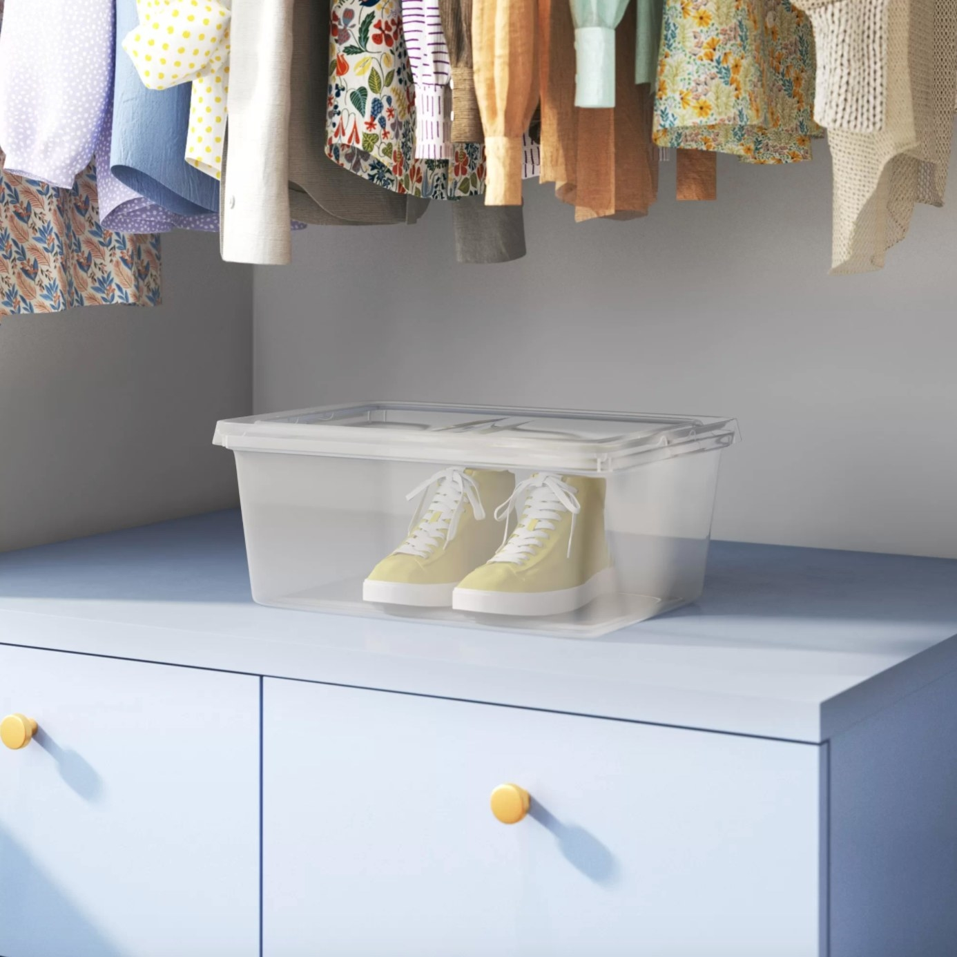 The plastic storage tub holding sneakers