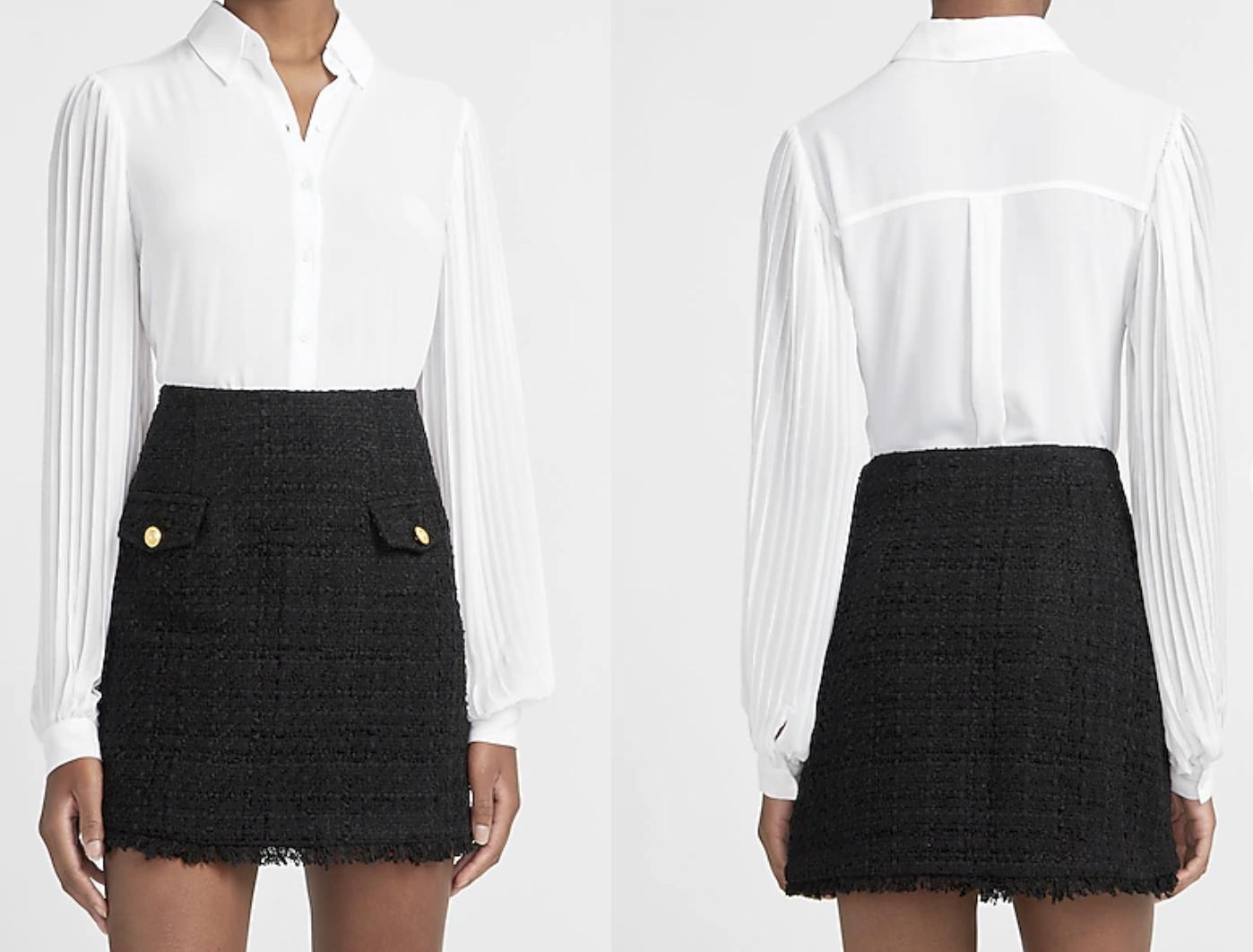 High waisted a-line tweed mini skirt