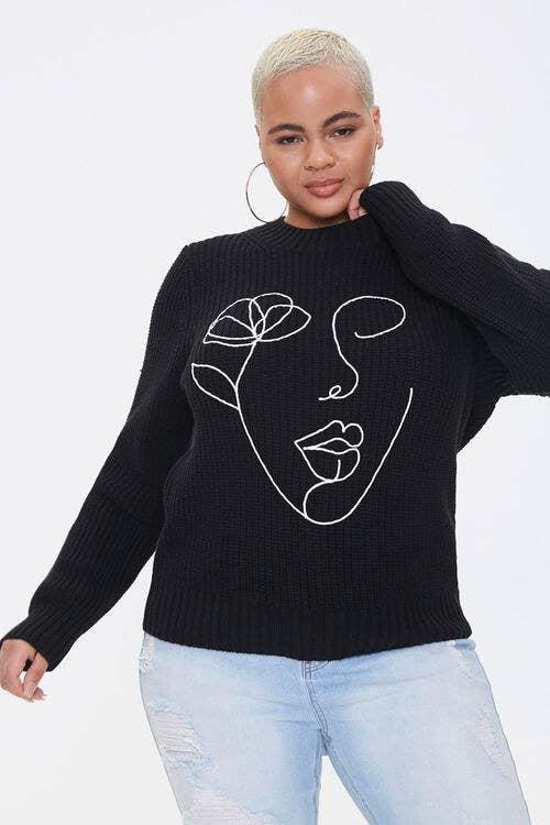 model wears line art sweater