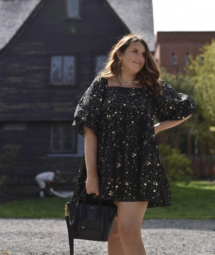 Ali Faccenda wearing star light tiered mini dress