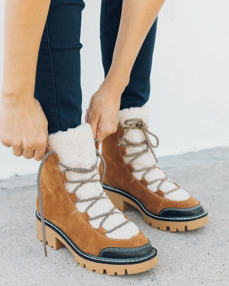 the brown and white boots