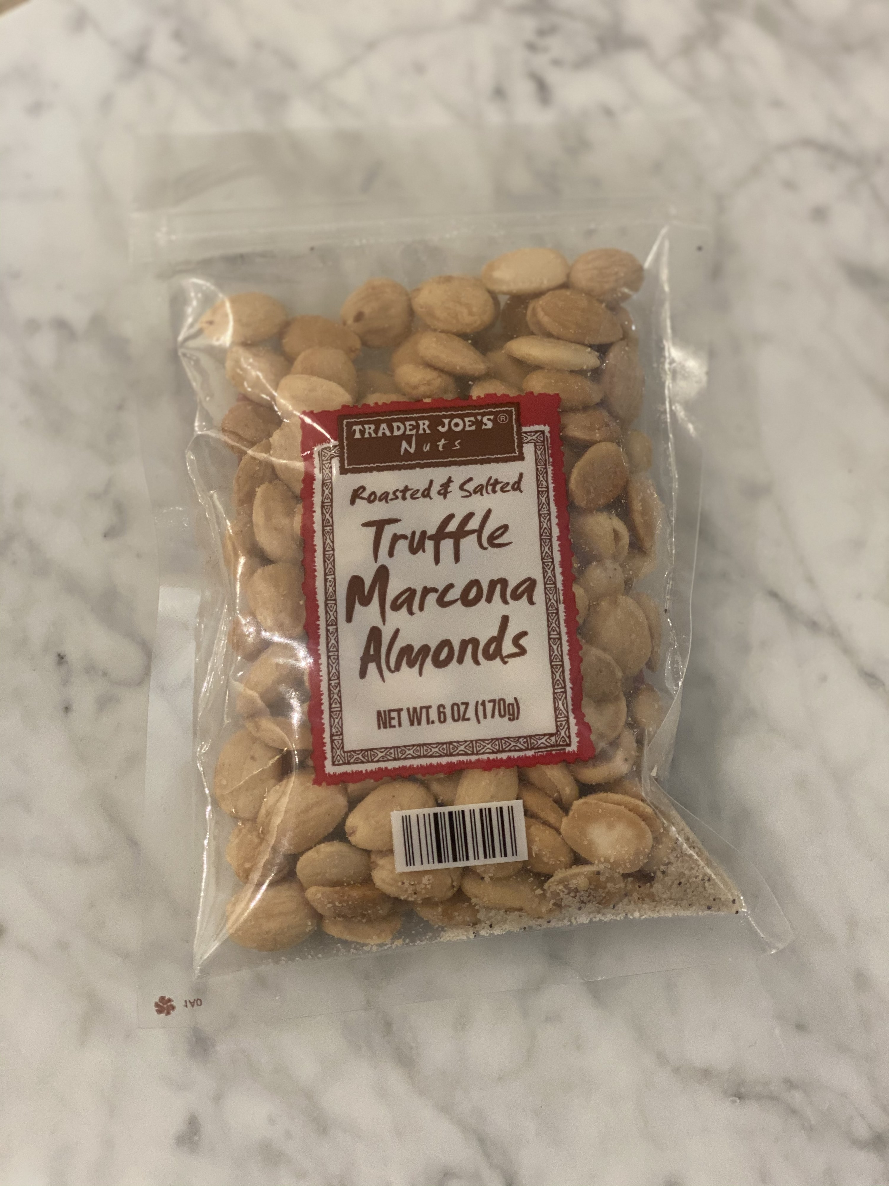 A bag of truffle marcona almonds.