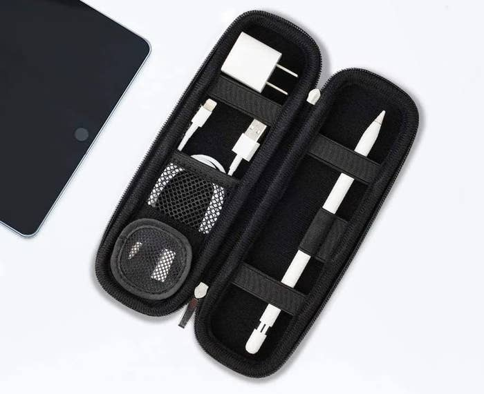 The inside of the case with cgadgets inside