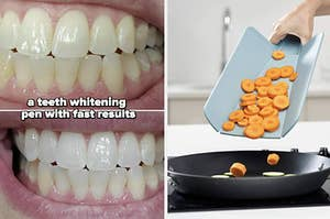 left image: before and after using teeth whitening pen, right image: foldable cutting board