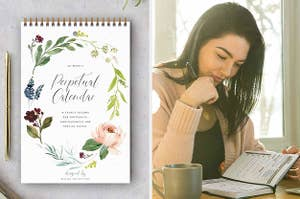 A 12-month calendar with illustrations of flowers around the edge, A person sitting a desk and looking at their agenda