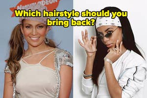 """Jennifer Lopez is on the left wearing ponytails with Aaliyah on the right in a bandana and a caption that reads: """"Which hairstyle should you bring back?"""""""