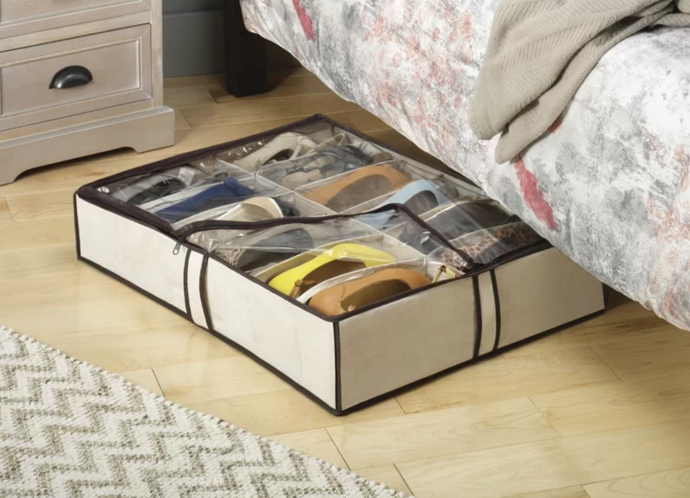 The fabric under bed shoe storage container