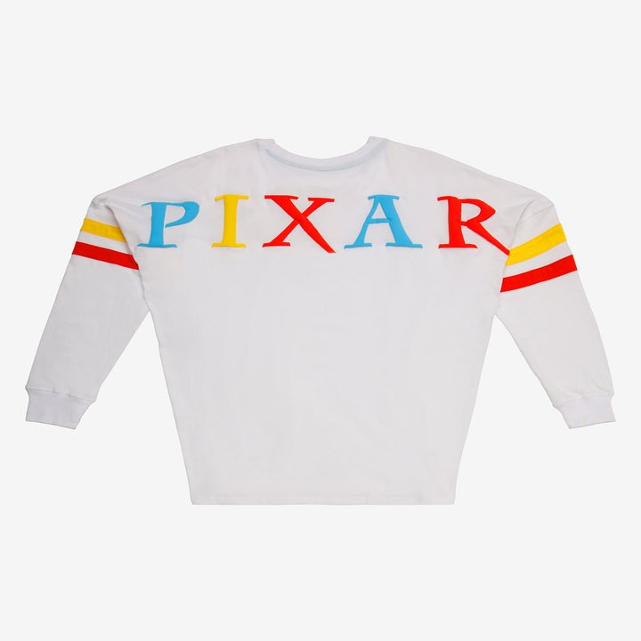 "the back of the shirt with ""pixar"" written in all caps and blue, yellow, and red alternating letters"