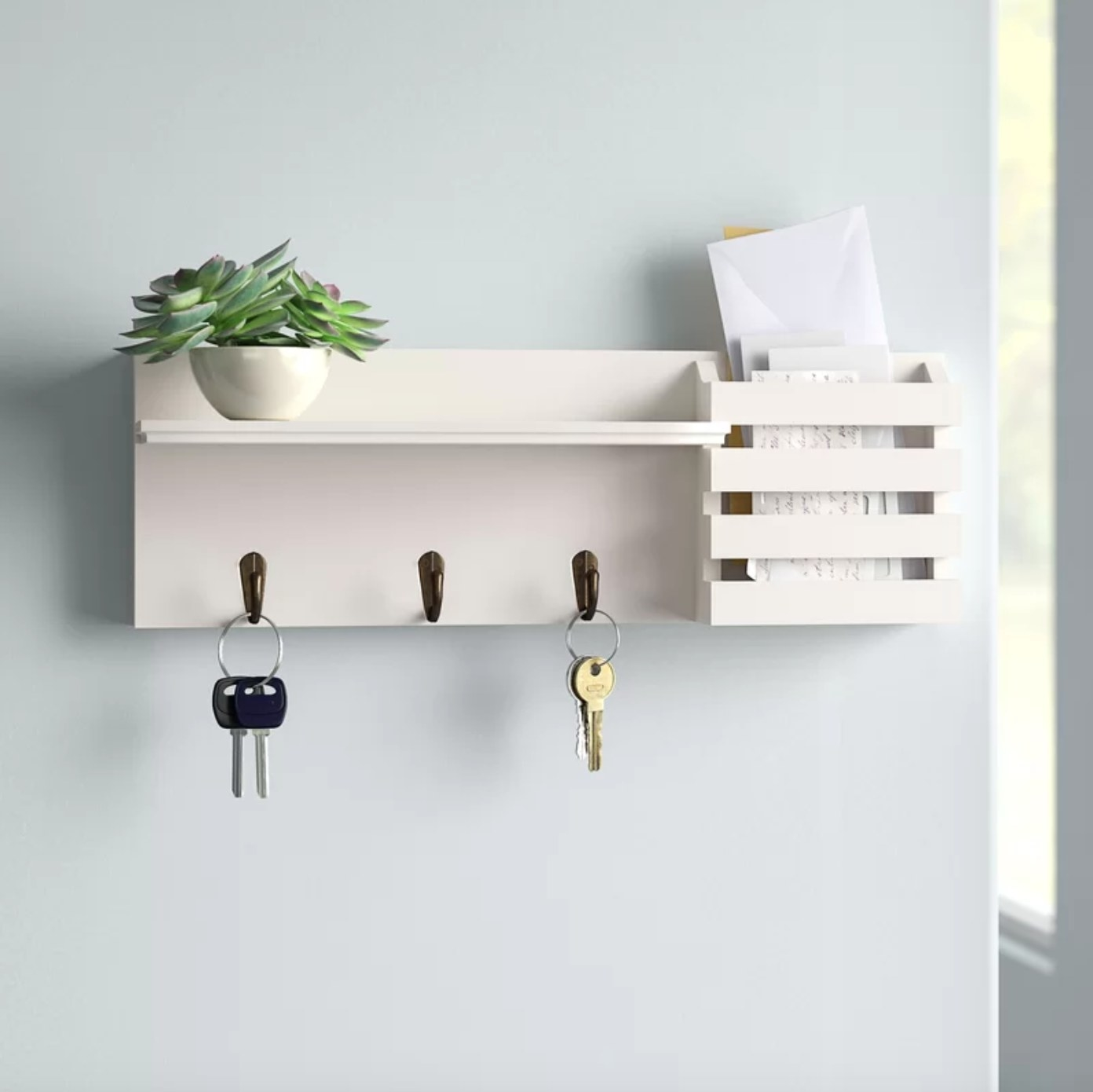 The shelf with hanging hooks in white