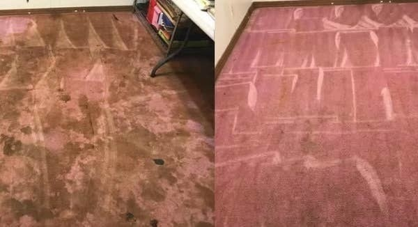 On the left, a pink carpet looking brown and dirty, and on the right, the same carpet now cleaner and entirely pink