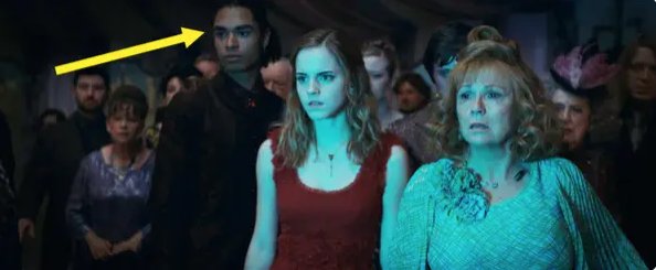 Regé-Jean Page appearing as a guest at Bill and Fleur's wedding in Harry Potter
