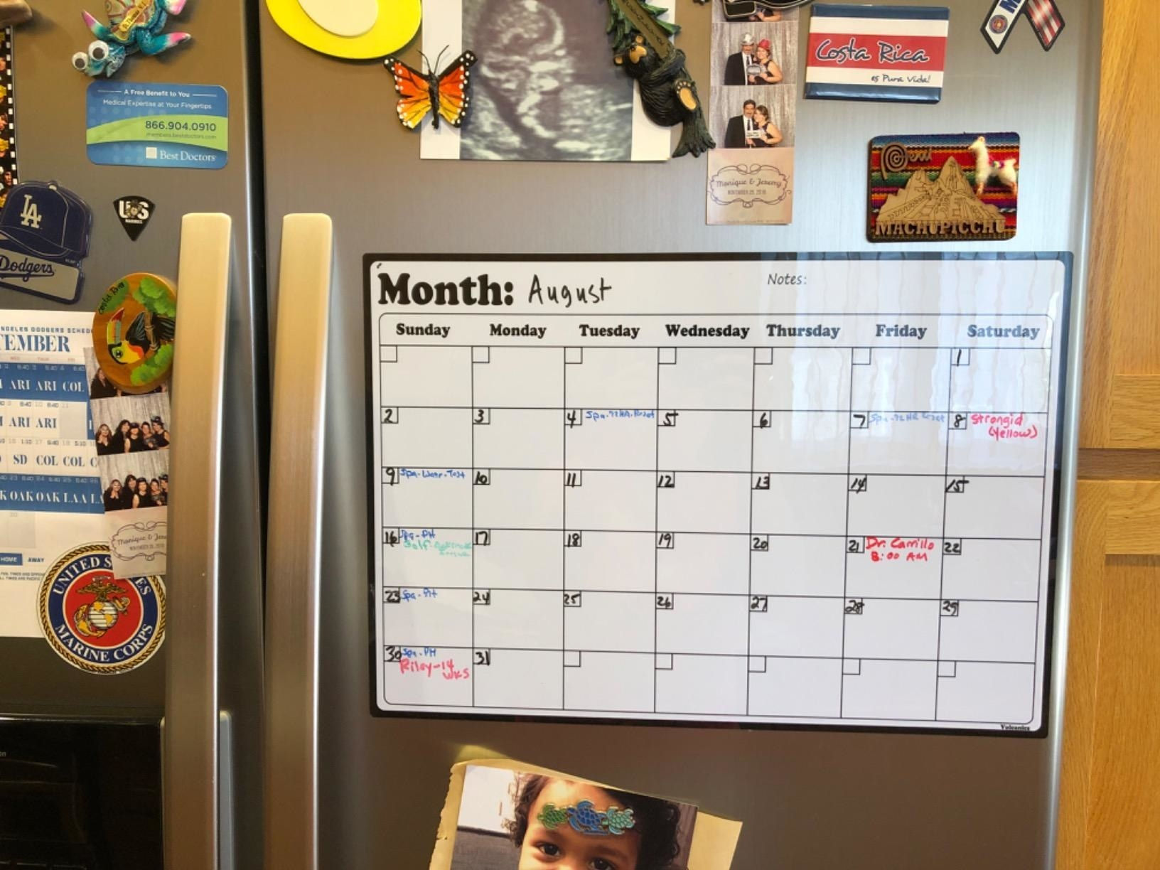 reviewer photo showing the calendar on their fridge surrounded by photos and magnets