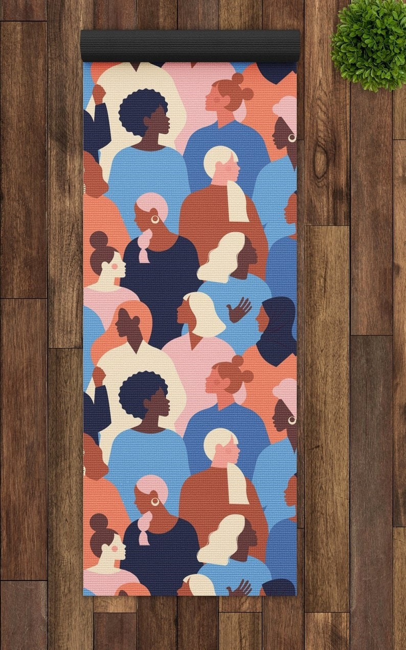 Abstract minimalist illustration of many different profiles of women on grippy yoga mat