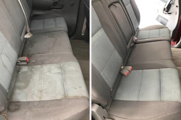 On the left, a car seat looking dirty and stained, and on the right, the same car seat now clean