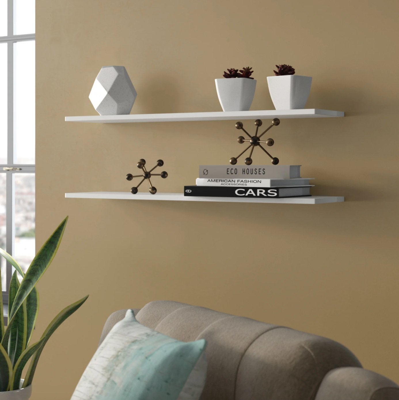 The set of floating shelves in white