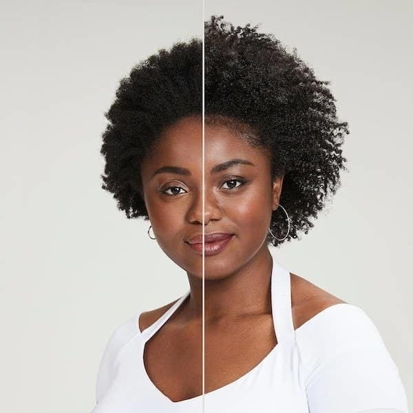 On the left, a model's curls looking a bit frizzy, and on the right, the same model's curs now looking more defined, longer, and more bouncy